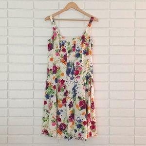 America Living White & Multi-Color Floral Dress